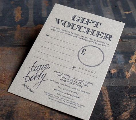 printable tattoo voucher gift voucher on 700 micron board letterpresses board