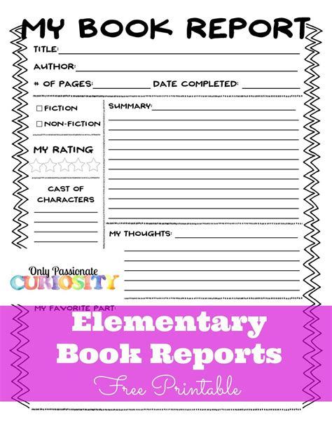My Book Report Printable by Elementary Book Reports Made Easy Only Curiosity