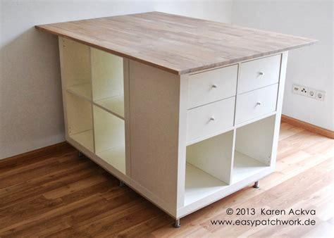 Folding Kitchen Island by Une Table De Couture Sur Mesure Avec Kallax Bidouilles Ikea