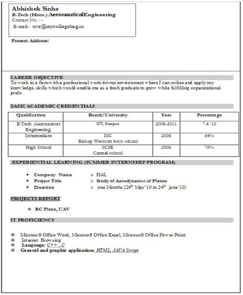 fresher resume sle for software engineer sle resume fresher engineers 100 images
