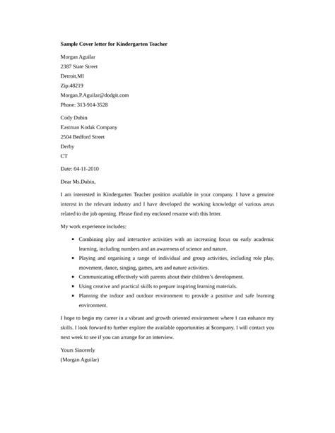 cover letter for kindergarten kindergarten application letter application