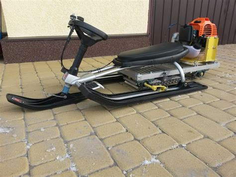 diy snow sled snowmobile for of grass cutter and sled