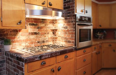 kitchen with brick backsplash antique brick kitchen