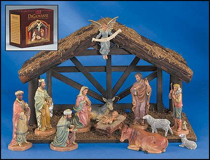 12 pc nativity set with wood stable nativities