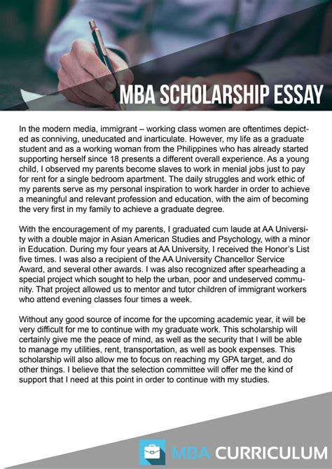 How To Get Scholarship For Mba by Mba Scholarship Essay Sle Bag The Web