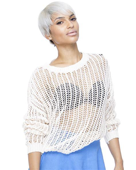 Import Peek A Boo Sweater peek a boo knit crop sweater in beige flyjane