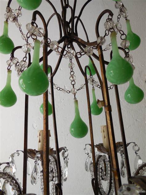Green Beaded Chandelier Tole Green Opaline Drops Beaded Chandelier At 1stdibs