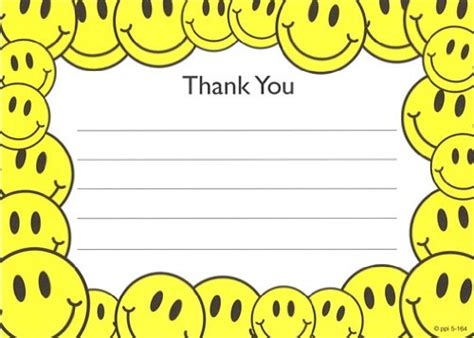 Thank You For Gift Card Sle - kids smiley face thank you cards fill in style 8 pack childrens stuff sale