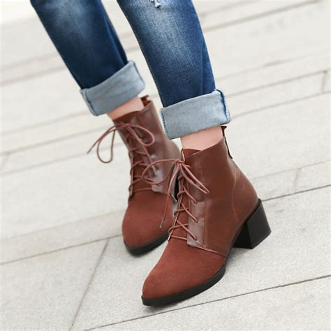 fashion vintage thick low heels platform ankle boots 2014