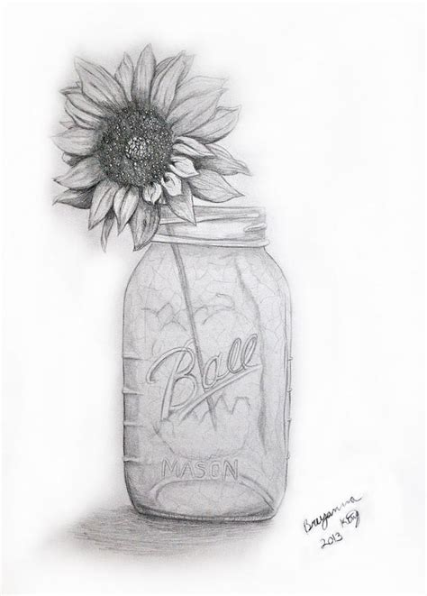 How To Draw Sunflowers In A Vase by Jar Vase Drawing By Breyanna King