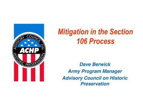 section 106 national historic preservation act ppt mitigation in the section 106 process powerpoint