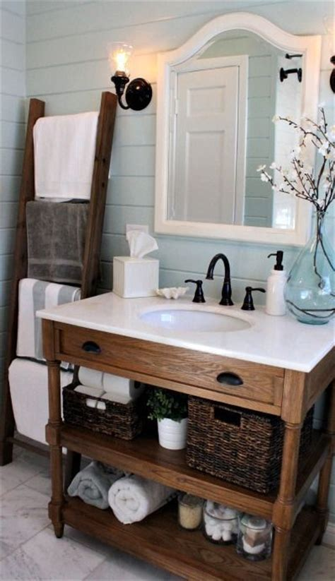 Rustic Chic Bathroom Loving This Bathroom Ladder For Linens Rustic But Chic Vanity Pretty Blue Plank Walls