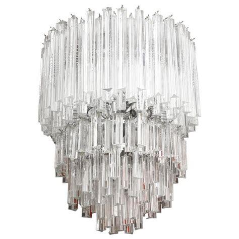 glass prism chandelier cascading italian murano venini glass prism chandelier for