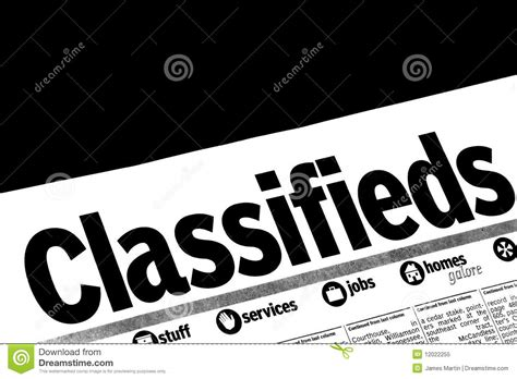 classified section of a newspaper classifieds section of the newspaper royalty free stock
