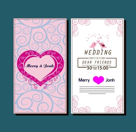 curved card template wedding card template with hearts birds curved pattern