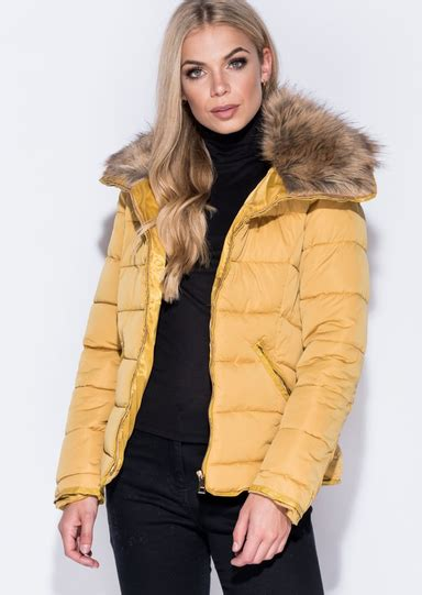 Parka Mustard Dina Fashion 1 faux fur collar quilted padded puffer jacket coat mustard yellow