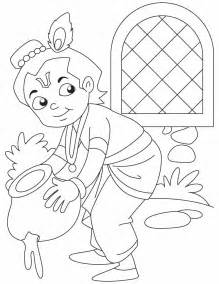 Baby Krishna The Butter Thief Coloring Pages sketch template