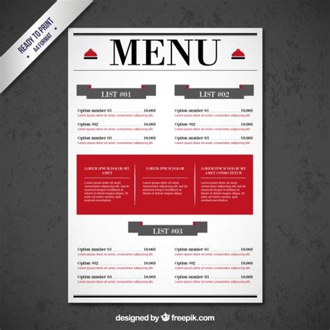 restaurant menu templates free restaurant menu template vector free