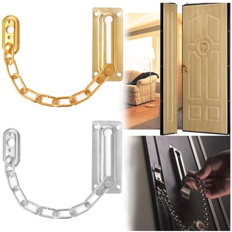Cabinet Door Chain Satin Chrome Finish Chain Door Guard Security Lock Cabinet Latches With Screws Ebay