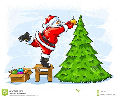 photo of santa claus and christmas tree cheerful santa claus decorating tree stock vector image 11752338