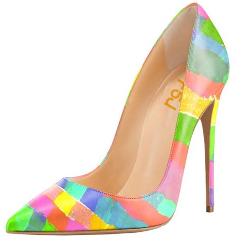 colored pumps multicolored rainbow stiletto heels pointed toe 4 inch