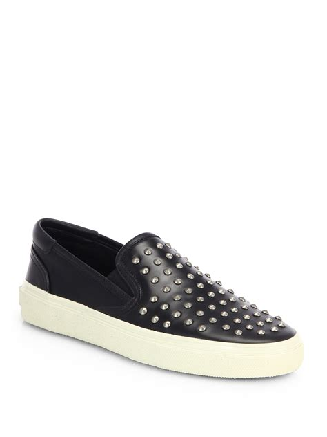 studded shoes lyst laurent studded leather skate shoes in black