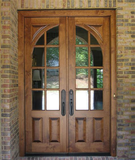Exterior Steel Door With Window Oak Wood Doors Exterior With Glass Insert And Metal Handle For Rustic House Design
