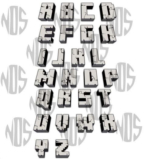 free printable minecraft alphabet letters digital gray cracked 3d minecraft alphabet by