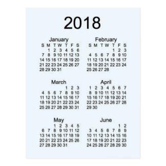 Calendar 2018 6 Months Year 2018 Postcards Zazzle