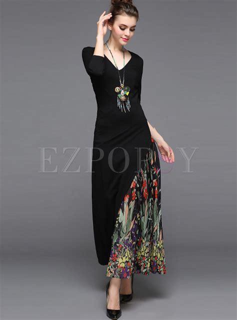 Etnic Maxy Dress dresses maxi dresses ethnic chiffon v neck stitching