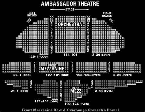 ambassador theater seating chart lyceum theatre seating chart