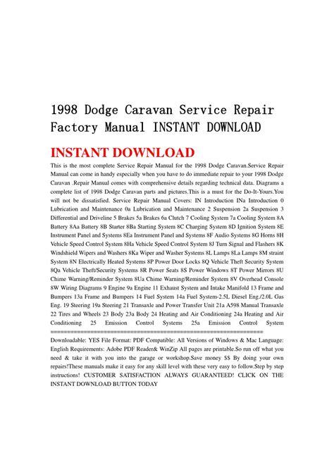 how to download repair manuals 1993 dodge caravan lane departure warning 1998 dodge caravan service repair factory manual instant download by jjshnfse issuu