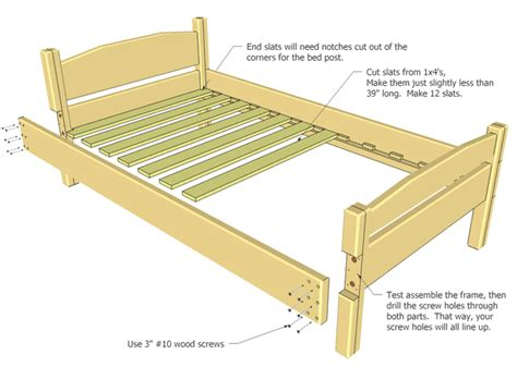 bed frame parts size bed plan