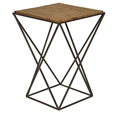 industrial metal side table maris industrial loft metal reclaimed wood side end table