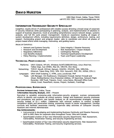 8 Sle Information Security Analyst Resumes Sle Templates It Resume Template