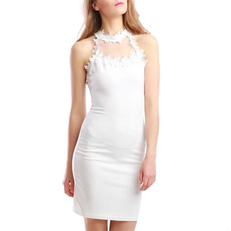 Robe Col Montant - robe blanche col montant femme pas cher la modeuse