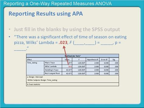 Sle Results Section Apa by Reporting A One Way Repeated Measures Anova