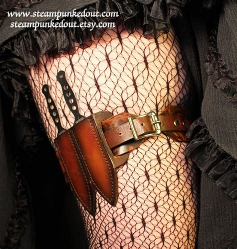 thigh knife sheath leather steunk leg garter w throwing knives by