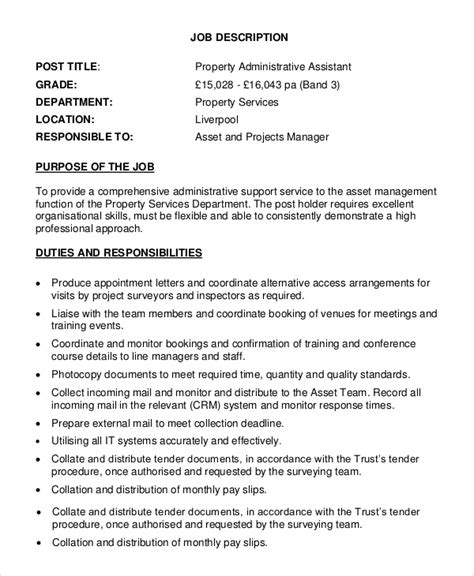 Assistant Property Manager Description by Sle Property Manager Description 9 Exles In Pdf Word