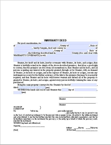 warranty deed form template warranty deed form free fillable pdf forms free