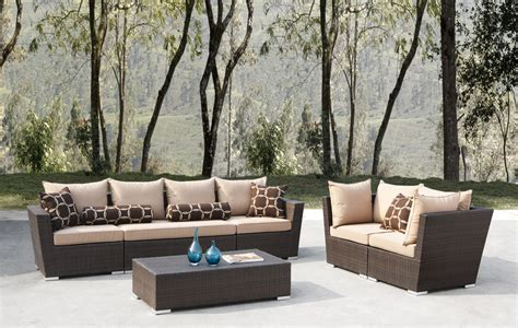 outdoor wicker patio furniture 6pc sofa seating set w
