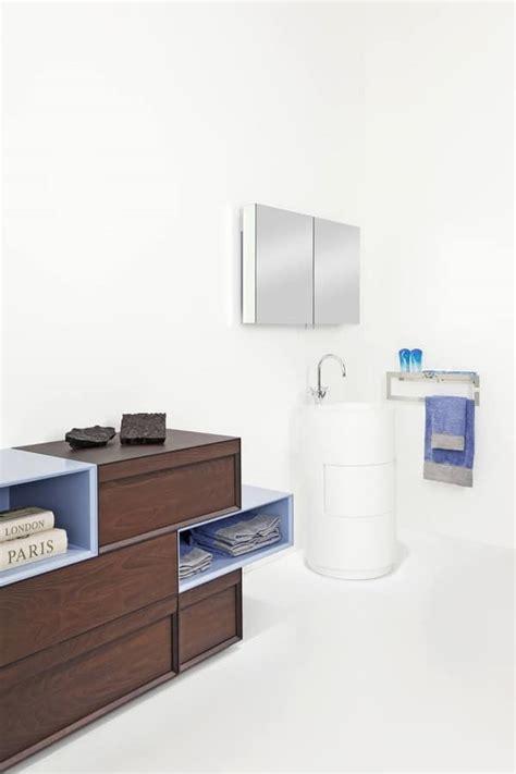 badezimmer schrank mit schubladen blau und akazie finish - Badezimmerschränke Mit Schubladen