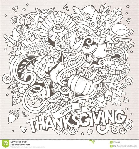 doodle pictures free vector doodle thanksgiving stock vector