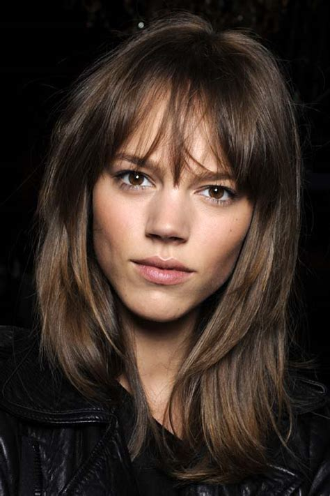 above the shoulder haircut with soft bangs freja everything about her hair makeup for brown eyes