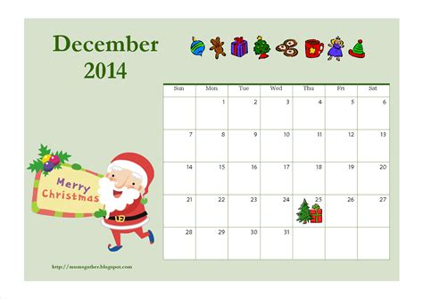 december 2014 calendar santa download link for free