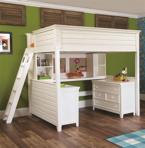 wooden loft bed with desk white wooden loft bed with desk on the middle of