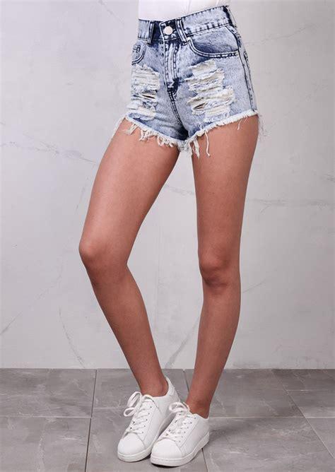 Denim Hotpants high waisted ripped frayed edge denim hotpants shorts acid