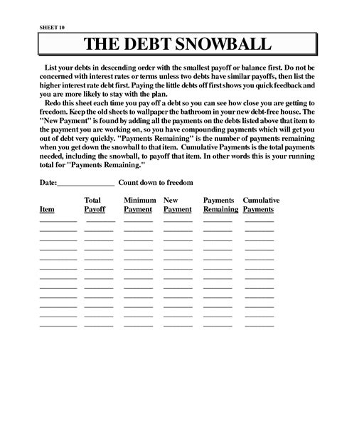 Snowball Debt Plan Worksheet by 16 Best Images Of Dave Ramsey Budget Worksheet Pdf Free