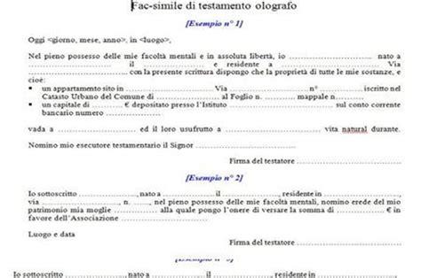 testamento olografo fac simile testamento olografo lettera43 it