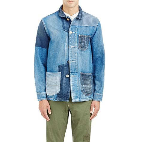 Patchwork Denim Jacket - fdmtl s patchwork denim jacket in blue for lyst